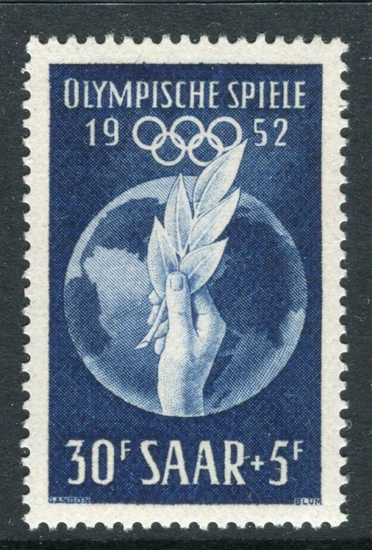 GERMANY SAAR;  1952 early Olympics issue Mint hinged 30Fr. value