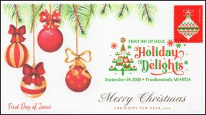 20-229, SC 5526, 2020, Holiday Delights, FDC, Digital Color Postmark, Ornament,
