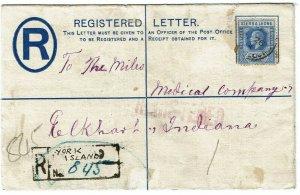 Sierra Leone 1914 York Island cancel on registry envelope to the U.S.