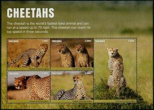 HERRICKSTAMP NEW ISSUES TANZANIA Sc.# 2814 Cheetahs Sheetlet #2