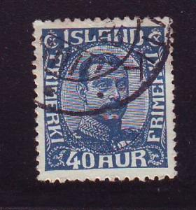 Iceland Sc 124 1921 40 a dark blue Christian X stamp used