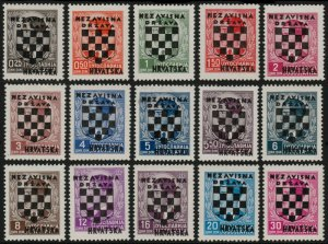 ✔️ CROATIA 1941 - OVERPRINT IN BLACK - SC. 9/23 ** MNH OG [CR009]