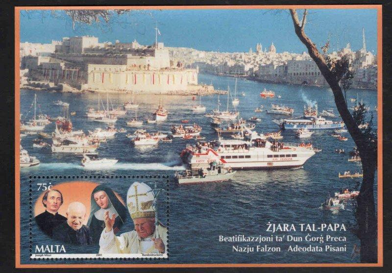 MALTA  Scott 1052 MNH** 2001 Pope John Paul 2 visit souvenir sheet