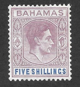 Doyle's_Stamps: 1938 XF++ Bahamas KGVI 5 Shilling Scott  #112*