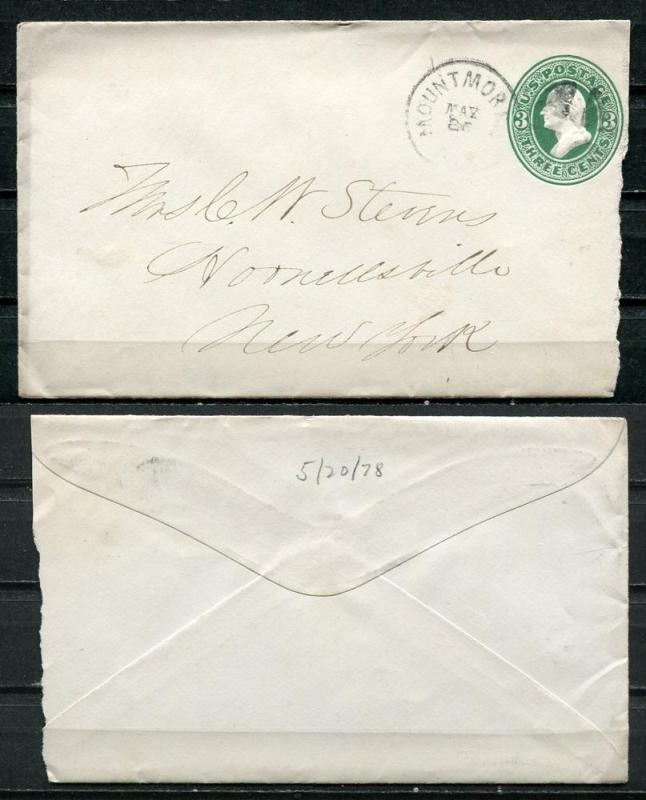 USA 1870's Postal Stationary Cover sent to New York