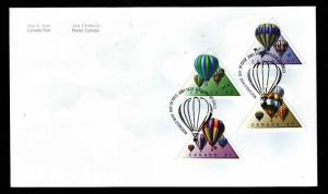 Canada-Sc#1921a-d-stamps on FDC-Hot Air Balloons-2001-