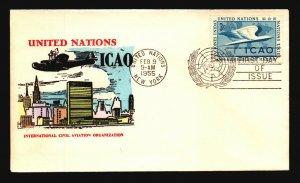 UN 1955 ICAO 3c FDC / Hand Colored Cachet - L3767