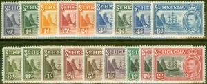 St Helena 1938-49 set of 18 SG131-140, 149-151 Fine Very Lightly Mtd Mint