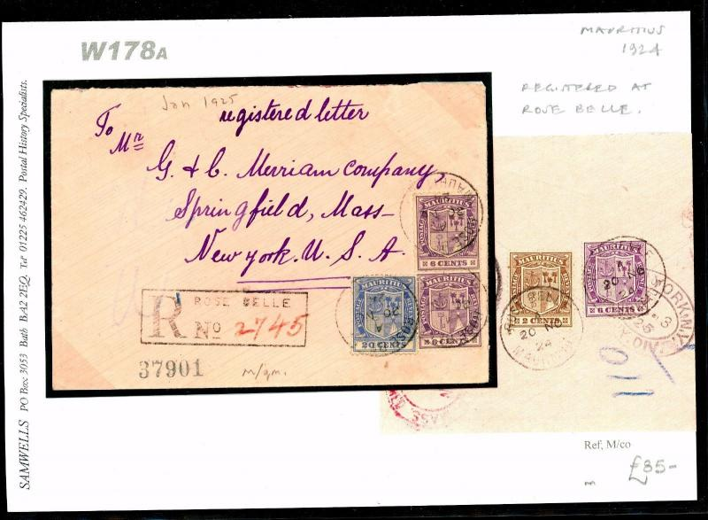 DBW178a 1924 MAURITIUS Rose Belle 40c Registered Combination/New York