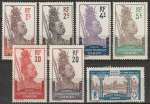 Gabon 1910 Sc 33-9 Yt 33-9 set low values most MH*