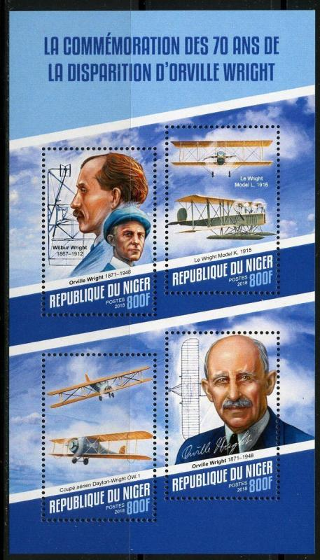 NIGER 2018 70th MEMORIAL ANNIVERSARY OF ORVILLE WRIGHT SHEET  MINT NH