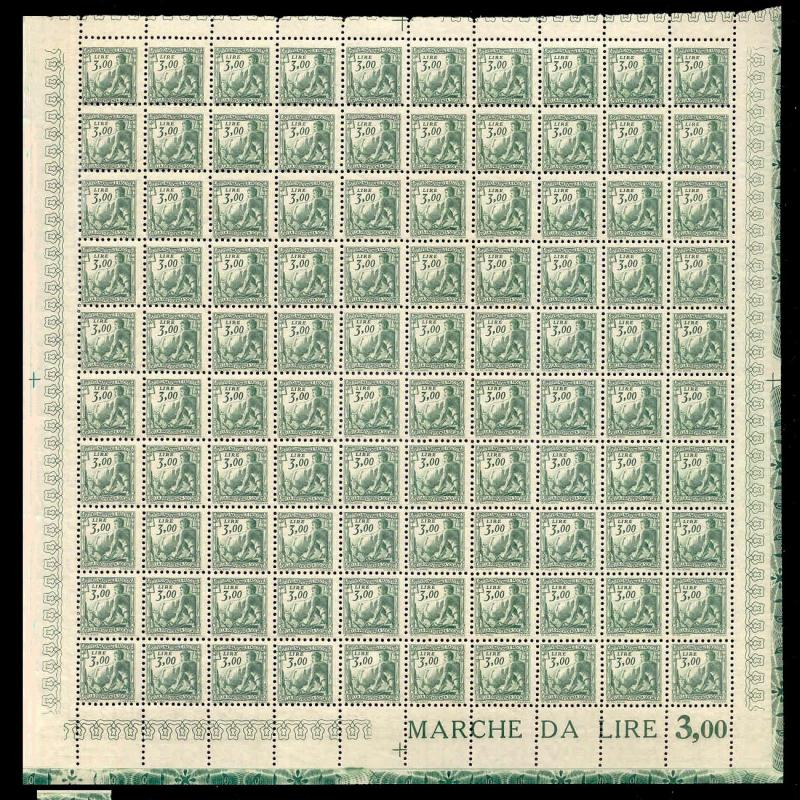 Italy 1941 3.00 L Fascist Social Security Stamp Mint Sheet #240B