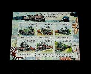 TOPICAL, TRAINS, MOZAMBIQUE, 2011, SOUVENIR SHEET/6, MNH, NICE! LQQK