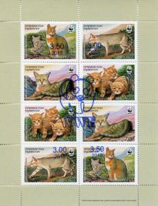 Tajikistan 2018 MNH WWF Reed Cat OVPT Overprint 8v M/S Wild Animals Stamps