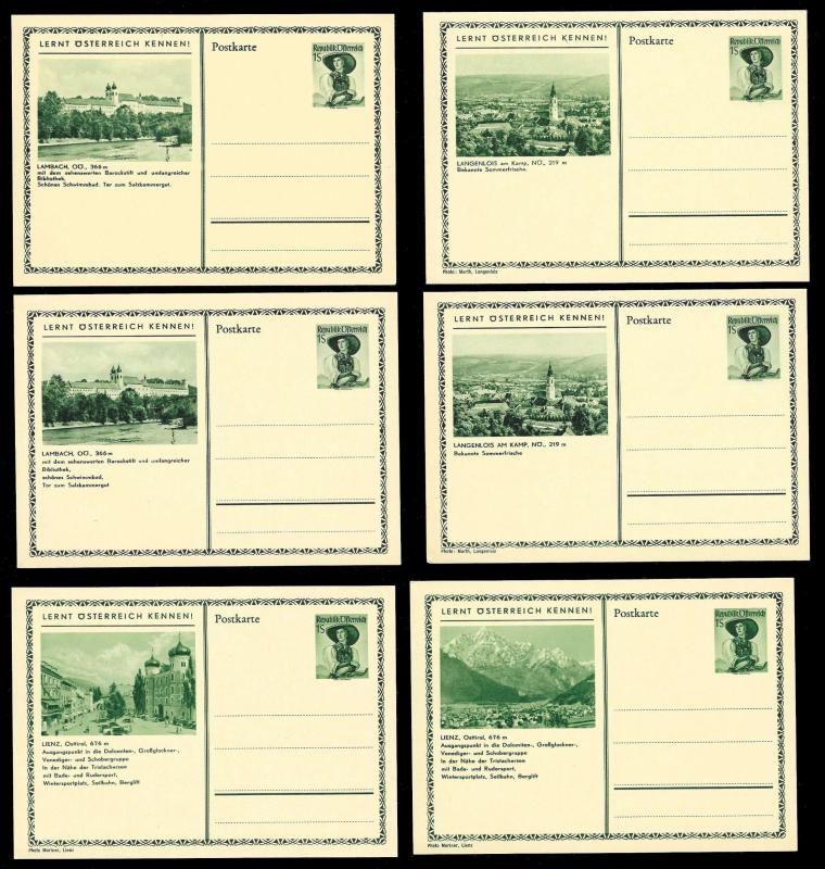 AUSTRIA (62) Scenery View Green 1 Shilling Postal Cards c1950s ALL MINT UNUSED