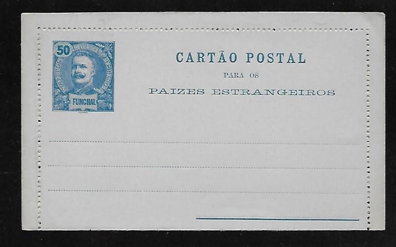 Funchal Postal Stationery Lettercard H&G 4 Mint