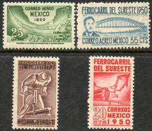 MEXICO 870-871, C201-C202, Opening Southeastern Railroad. UNUSED, H OG. F-VF.