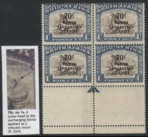 KUT, SG 154a, MNH block of four Crescent Moon Flaw variety