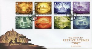 Jersey Christmas Stamps 2020 FDC Festive Scenes Landscapes Animals 8v S/A Set