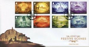 Jersey Christmas Stamps 2020 FDC Festive Scenes Landscapes Animals 8v S/A Set