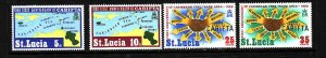 St Lucia-Sc#249-52-unused heavy hinged set-Maps-CARIFTA-1969-