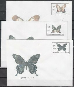 Yakutia, 2001 Russian Local. Butterflies on 3 Postal Envelopes