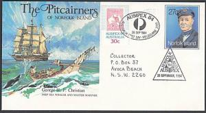 NORFOLK IS 1984 27c envelope used at Ausipex with Oz 30c etc...............29009