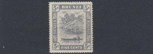 BRUNEI  1924 - 37  S G 67    5C  GREY     MH  LIGHTLY TONED