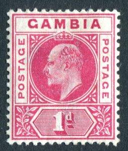 Gambia 1902 KEVII. 1d carmine. Crown CA. Mint. LH. SG46.