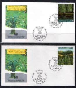 UN Geneva 165-166 Trees UN Postal Administration Set of Two U/A FDC's