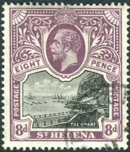 ST HELENA-1912-16 8d Black & Dull Purple.  A fine used example Sg 78