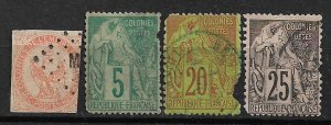 COLLECTION LOT OF 4 FRENCH COLONIES STAMPS 1859+