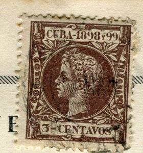 SPANISH CARIBBEAN;  1898 classic Curly Head King issue used 3c. value