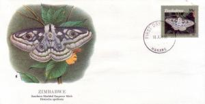 Zimbabwe FDC SC# 532 Southern Marbled Emperor Moth L405