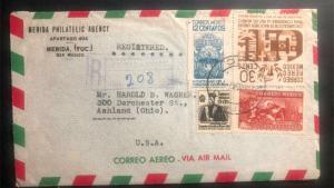 1947 Merida Mexico Airmail Philatelic agency Cover To Ashland OH USA