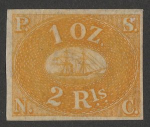 PERU : 1857 Pacific Steam Navigation Co 2R yellow, unissued. Only 800 printed.