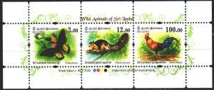 Sri Lanka. 2018. 2205-7. Sri Lanka fauna, butterflies, cock. MNH.
