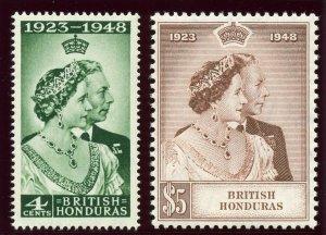 British Honduras 1948 KGVI Silver Wedding set MNH. SG 164-165. Sc 129-130.