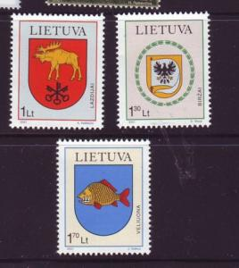 Lithuania Sc 704-6 2001 Coats of Arms stamp set  NH