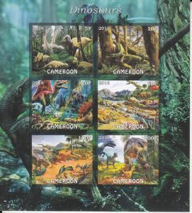Cameroon  2016  Dinosaurs  6v   MNH  Imperf  Souvenir Sheet    75872