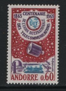ANDORRA, 167, MNH, 1965, SYNCOM SATELLITE OVER PLEUMEUR