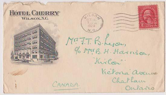 USA to Canada 1928 Illustrated Hotel Cover 2c Red Wahington Tied Machine Cancel