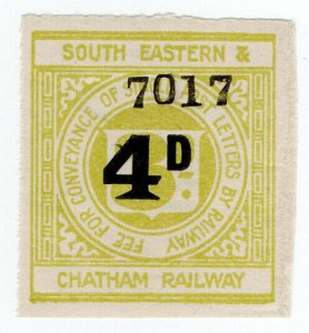 (I.B) South Eastern & Chatham Railway : Letter Stamp 4d on 3d OP