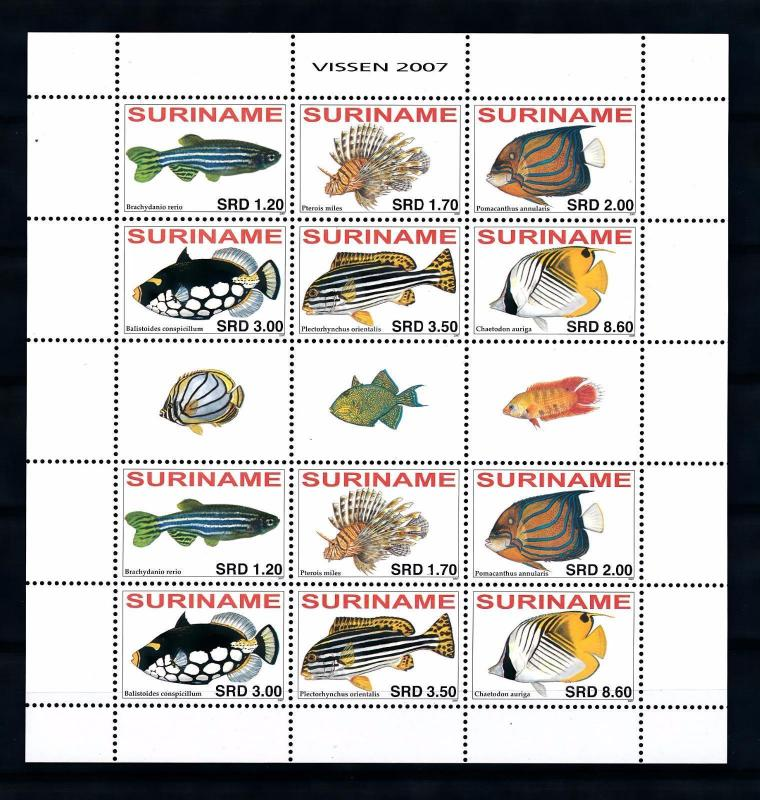 [SUV1467] Surinam Suriname 2007 Fish Fisch Poisson Miniature Sheet with tab MNH