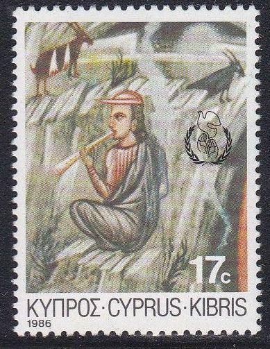 Cyprus #683 single F-VF Mint NH ** Peace Year, Christmas