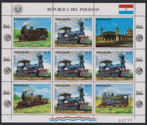 Paraguay South American Locomotives Sheetlet SC#2067