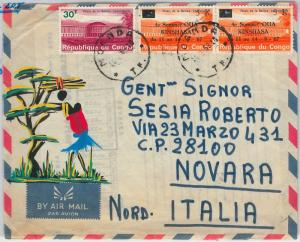 CONGO -  POSTAL HISTORY: OVERPRINTED STAMPS on HAND PAINTED COVER to ITALY 1969