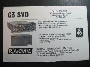 10523 Amateur Radio QSL Card RACAL ADVERTISING THATCHAM BERKS ENGLAND