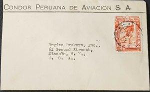 Peru 1937 Airmail Condor Peruana Aviacion Cover