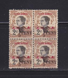 France Offices In Yunnan Fou 52 Block Of 4 MNH Overprints